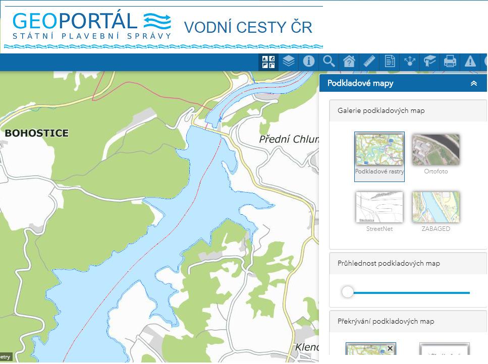 Mapa vodních cest v ČR