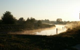 Východ slunce u plavební komory Veselí nad Moravou