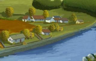 Akvarel zatopené obce Solenice