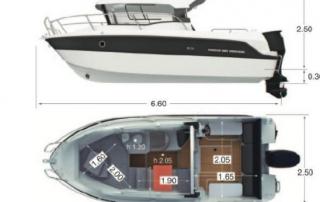 Bokorys a půdorys lodě Parker 660
