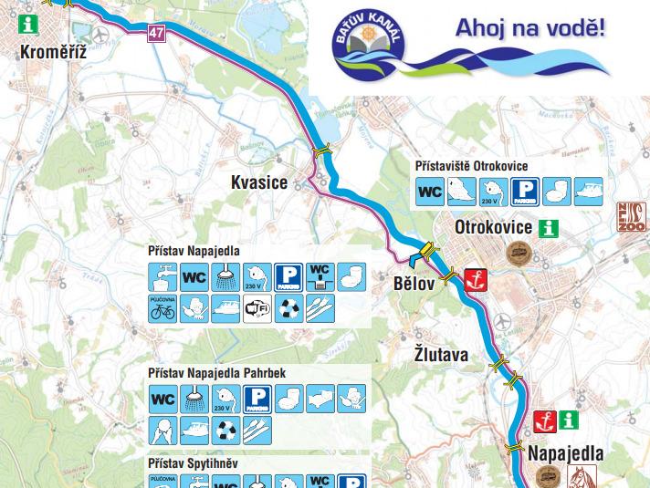 Baťův kanál - mapa